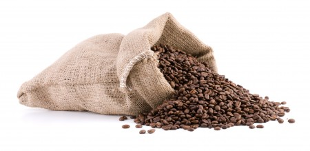 Coffee bean sack with roasted beans